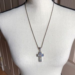 Jewelry - 925 cross with mother of pearl inlay necklace
